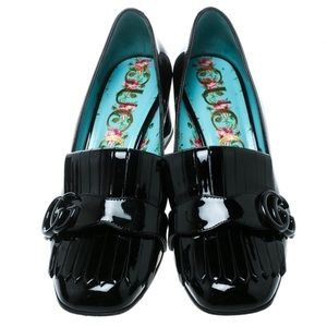 Gucci Black Patent Leather Fringe Marmont Loafer